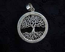 Tree of life silver medallion pendant necklace medal coin sterling tribal forest rune inscriptions celtic art design tribal mens men SP10