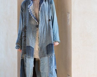 kimono jacket in patchwork of jean and recycled knits