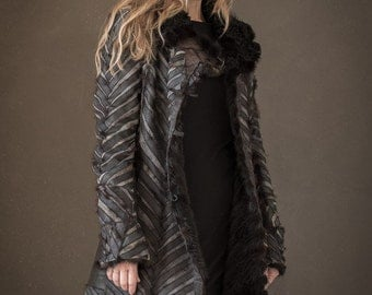 frock coat woman fur recycled