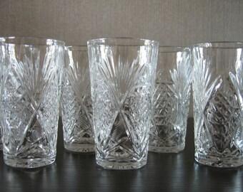 Vintage Czechoslovakian Crystal Glasses Set of 2 Pieces 1950's
