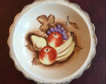 Handpainted Bowl with Fruit Design - Enesco - Japan