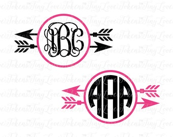 Feather Arrow Monogram Design for Silhouette and other craft cutters (.svg/.dxf/.eps/.pdf)