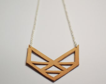 Angular Triangle Cutout Leather Necklace