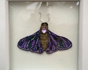Textiles moth, moth box frame, framed moth taxidermy, faux taxidermy, box framed moth, textiles butterfly, embroidered moth wall hanging