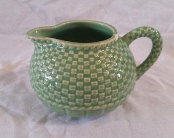 Bordallo Pinheiro creamer basket weave/green creamer/basketwave creamer/bordallo pinheiro/green ceramic creamer/basketweave creamer