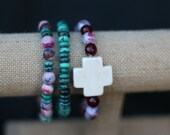 Handmade turquoise/purple/agate with white cross bracelet