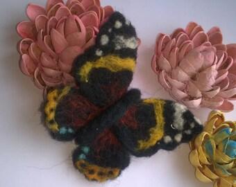 Vanessa atalanta, needle felted brooch, hand made,