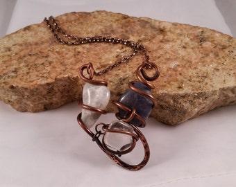 Copper Wire Jewelry, Copper Wire Necklace, Copper Necklace, Wire Wrapped Jewelry, Copper Art Jewelry,Stone Necklace,  Necklace Copper, Fun