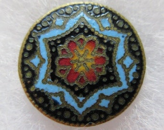 Flawless Antique French Cloisonne Enamel Button ~ Vivid Stained Glass Colors ~