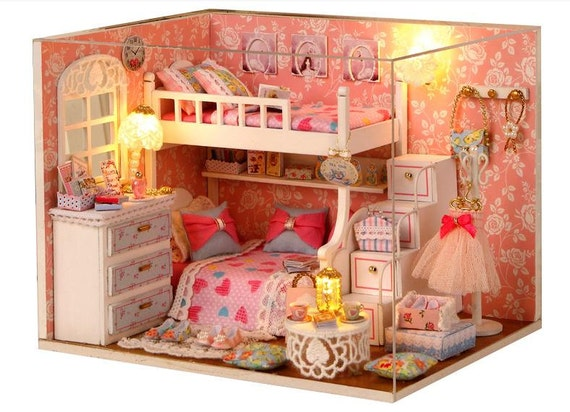 Miniature dollhouse diy princess bedroom with light cute room - Adorable dollhouse bookshelves kids to decorate the room ...
