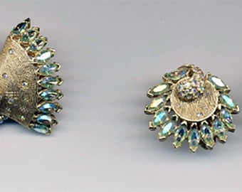 Vintage Bellini Aurora Borealis Earring and Brooch Set / Signed Costume Jewelry