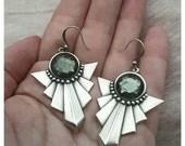Silver Art Deco earrings Art Deco jewelry Vintage earrings Non pierced earrings TITANIUM earrings Hypoallergenic earrings Geometric earrings