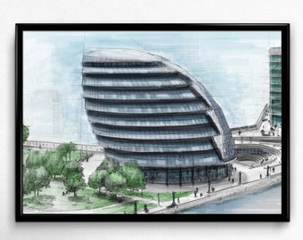 Architecture sketch, Architecture art, City Hall, London, Building modern, Building art, digital Architecture, Modern Architecture, Organic