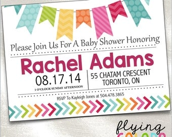 Baby Shower Invitation. Digital Baby Shower. DIY Printable. Custom Baby Shower Invite. Colourful