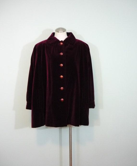 1980s Yves Saint Laurent Trapze Coat / Designer Burgundy Velvet Swing Jacket / Modern Size Large