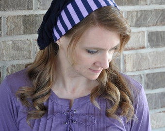 Women's Purple Navy Stripe Head Covering, headcovering, head scarf, half head tichel, headband, hairscarf, hair scarf veil Mitpachat bandana