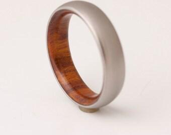 Titanium and Iron Wood // Mens Wood Rings //wood Wedding Band //Men's wedding Band