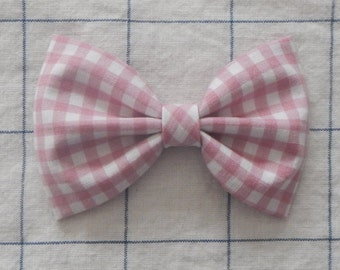 Pink Check Bow, Pink Bow, Pink Hair Bow, Girls Hair Bow, Hair Bow,Hair Accessories