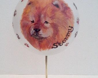 "Hand Painted Custom Pet Portrait Glass Ornament, 3 1/2"" Diameter"