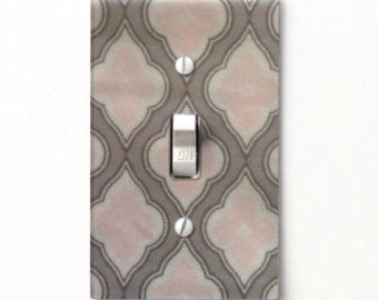 Gray & Pink Light Switch Cover - Switchplate - Home Decor