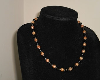 Black and bronze bead necklace