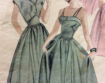 1950s partly cut vintage sewing pattern Butterick 5378 teen dress and bolero, bust 28, waist 24, swing, rockabilly, retro 50s party dress