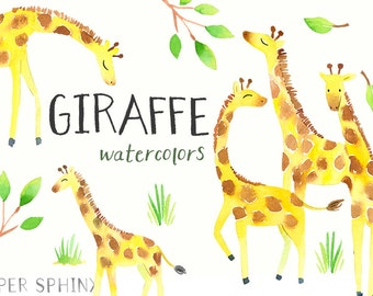 Watercolor Giraffes Clipart | Jungle Safari Animals - Scrapbooking, Baby Shower, Nursery Art - Digital Instant Download PNG Files