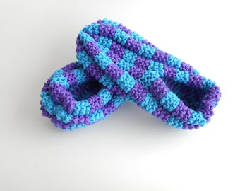 Slippers phentex tiles, man and woman, purple and cyan blue, ready to ship, ready to ship