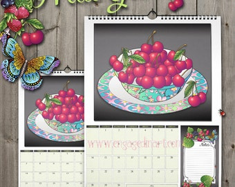 Fruit Wall Calendar A3 2016 - Fruit Garden - Pre-Coloured - Spiral Bound with Hanger