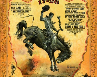 Cheyenne Wyoming Frontier Days Rodeo poster Print from original by Artist Bob Coronato vintage cowboy style HAND SIGNED Bucking Horse