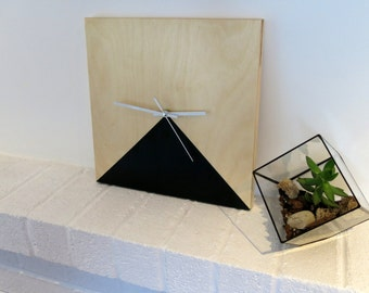 WOODEN clock - Triangle/modern Decor and minimalist/style tempered/Wood clock/colors/square/square/diped minimalist-modern-style