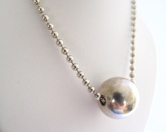 silver ball necklace seamless large silver bead necklace  heavy silver chain necklace  925 sterling silver ball necklace ,silver jewelry