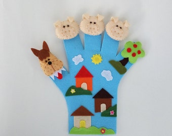 Glove puppet, hand puppet, finger puppet, fairy tale, pig, wolf, puppet, baby toy, toddler toy, busy toy, educational toy, Three Little Pigs