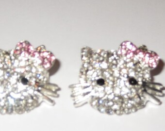 Hello Kitty Silver Plated Clear Rhinestone Charm 17x24 MM