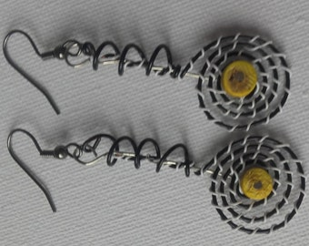 Funky wire wrap earrings.  Black white with yellow center.
