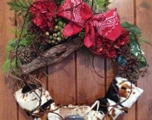 wreath, farm wreath, barn wreath, rustic wreath, door wreath, cow print wreath, cowboy wreath, western wreath