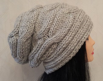 Light Gray Beanie -chunky slouchy hat -handmade knit hat by Rakcoon