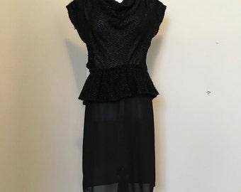 1980's Peplum Black Vintage Dress