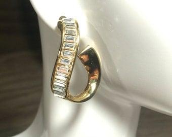 Monet Crystal Rhinestone Earrings, Monet Earrings, Monet Spiral Earrings, Monet Gold tone Monet Wrap Monet Rhinestones Monet Jewelry Vintage