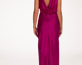 AUGUST SALE/ Open back silk maxi dress, Evening dress, Hot pink dress, Bridesmaids dress - Moje maxi dress by Hanieh Fashion