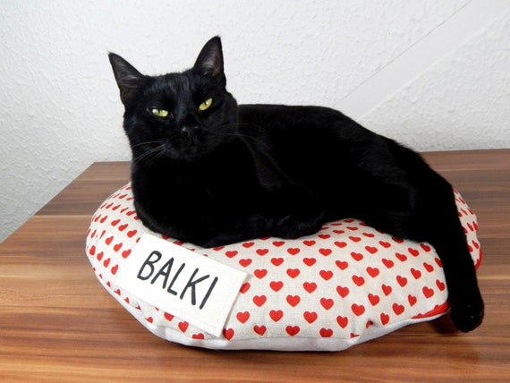 Round Animal Pillows : Items similar to Personalized round Cat bed bean bag pillow for pets, animal cats or dogs with ...