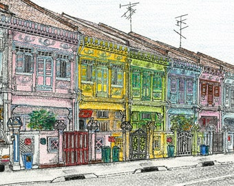 """SINGAPORE, Joo Chiat: """"Cities"""" Series. Ink and Watercolour."""