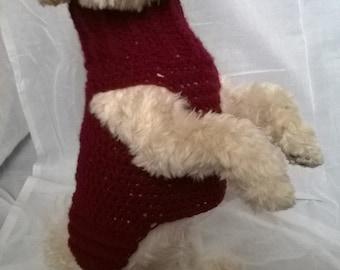 dog sweater, handmade dog sweater, dog sweater small, dog turtleneck, maroon dog sweater, dog sweater medium, dog sweater xs, dog coat
