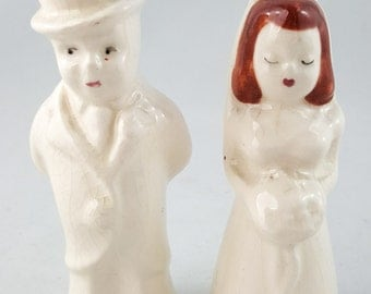 Vintage Bride and Groom Salt and Pepper Shakers
