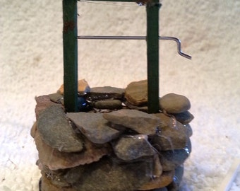 Fairy Garden well with rotating crank