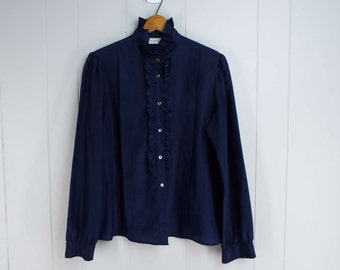 Vintage Womens 1980s Navy Long Sleeve Button Up Blouse with Ruffles | Size L
