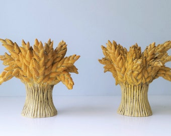 Wheat Bundle Candle Holders Votive Holders Set of Two (2)