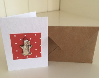 Small Cat Kitten Christmas Gift Card Tag with Envelope Red Spots Santa Hat Cute Handmade