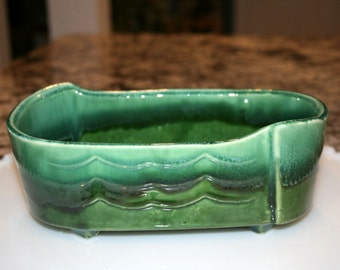 UPCO Green Planter USA #257//Ungemach Pottery Company Roseville, OH//Vintage Ungemach Pottery