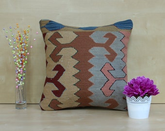 "Kilim Pillow Cover , 16x16"" Turkish Pillow Case , Decorative Pillow Southwestern Pillow Bohemian Pillow Kilim Cushion"